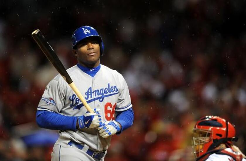 Dodgers right fielder Yasiel Puig finished second to Miami Marlins pitcher Jose Fernandez in voting for the 2013 National League rookie of the year award.