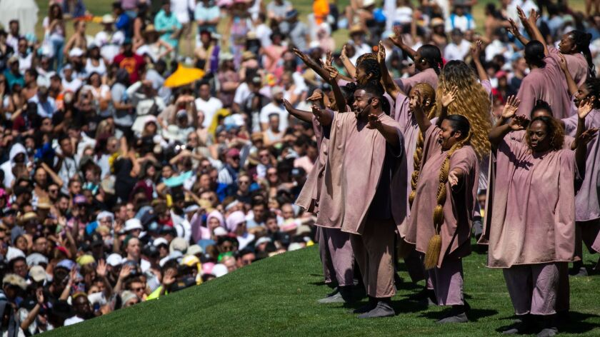 INDIO, CALIF. - APRIL 21: Kanye West's Easter Sunday Service during Weekend 2 of the Coachella Valle