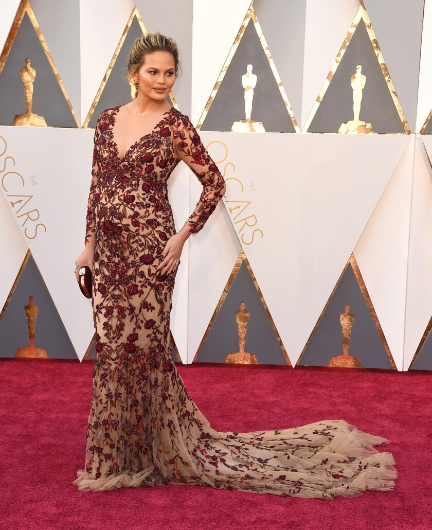 Chrissy Teigen on the 2016 Oscars red carpet.