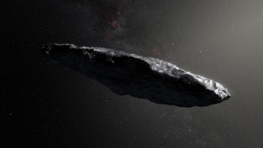 This artist's impression shows the first interstellar asteroid, `Oumuamua. Observations from ESOâ€