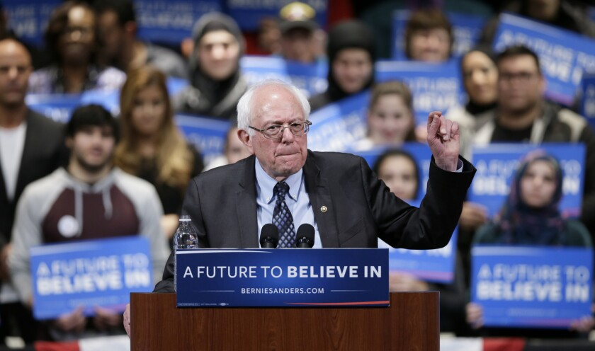 Campaigning for the Democratic presidential nomination, Sen. Bernie Sanders (I-Vt.) speaks during a rally Monday in Dearborn, Mich.