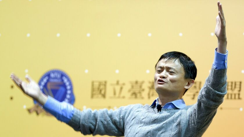 Jack Ma, co-founder of Alibaba Group, gestures during a 2015 speech in Taipei.