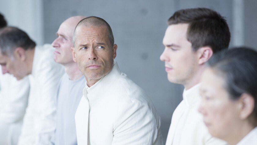 """Guy Pearce, left, and Nicholas Hoult in """"Equals."""""""