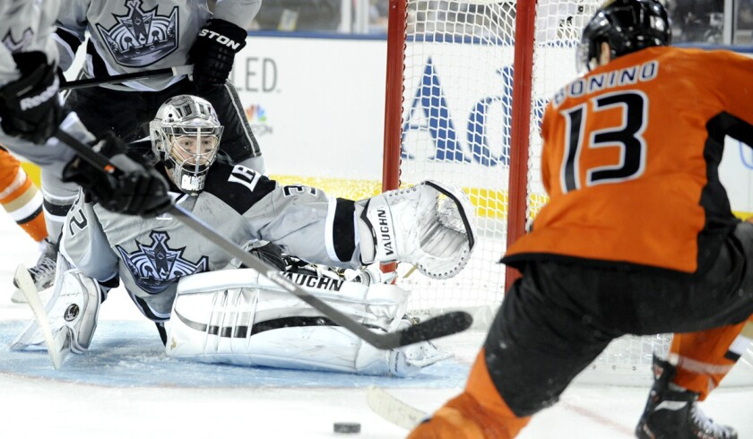 Can goalie Jonathan Quick and the Kings force their will on the Ducks, or will Nick Bonino (13) and his Anaheim teammates break through in the first postseason meeting of the Southland rivals?