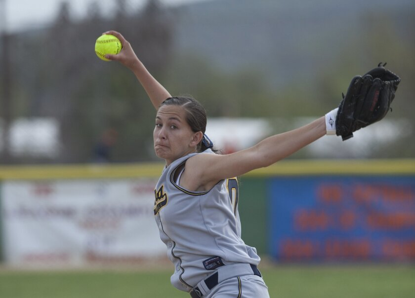 Under a new rule, Bonita Vista senior Jennifer Hartman will deliver her pitches from 43 feet this season instead of 40.