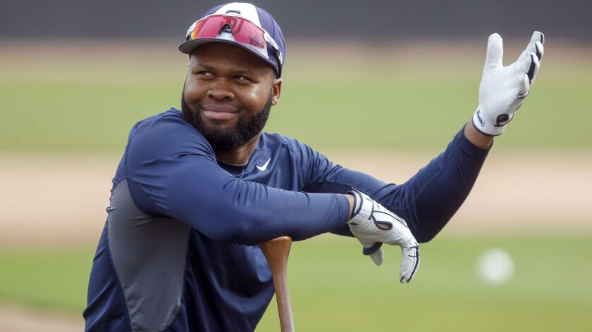 The Padres' Manuel Margot gestures as he waits his turn to bat during Padres spring training at the Peoria Sports Complex in Peoria, Arizona on Wednesday, Feb. 13, 2019.