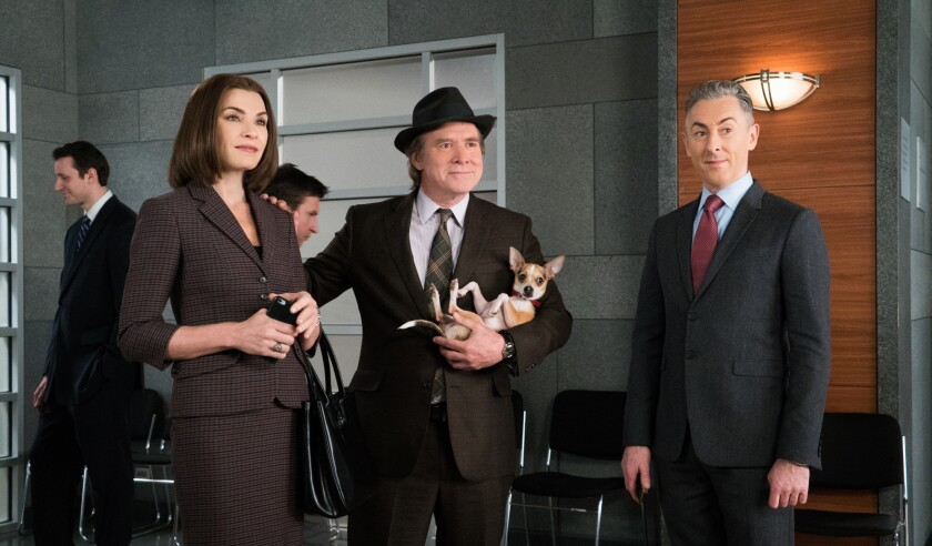 """Julianna Margulies as Alicia Florrick, guest star Will Patton (with dog) and Alan Cumming as Eli Gold in a recent episode of """"The Good Wife,"""" whose seven-year run ends in May."""