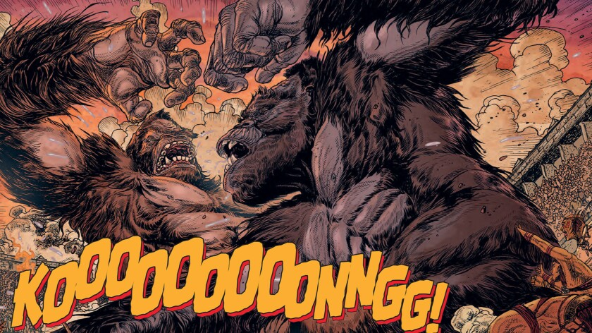 """A scene from """"Kong of Skull Island"""" No. 1, written by James Asmus and illustrated by Carlos Magno."""