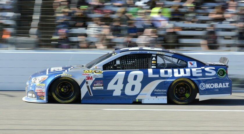 Jimmie Johnson (48) drives during the NASCAR Sprint Cup Series auto race at Texas Motor Speedway in Fort Worth, Texas, Sunday, Nov. 8, 2015. (AP Photo/Larry Papke)