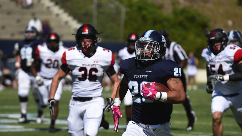 Jonah Hodges rushed for 175 yards in the Toreros' win on Saturday.