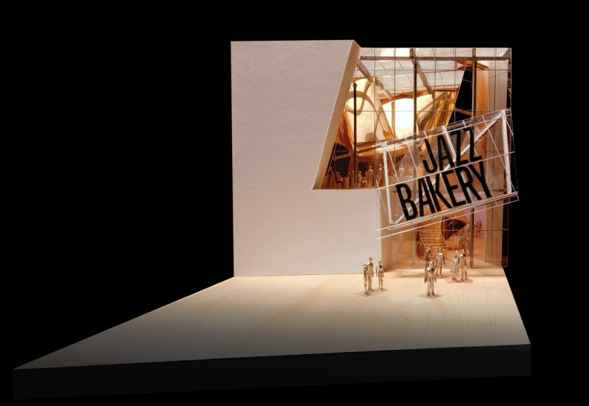 Frank Gehry's design for the Jazz Bakery, intended for a Culver City site, has an open facade.