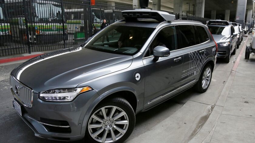 An Uber driverless car heads out for a test drive in San Francisco in December.
