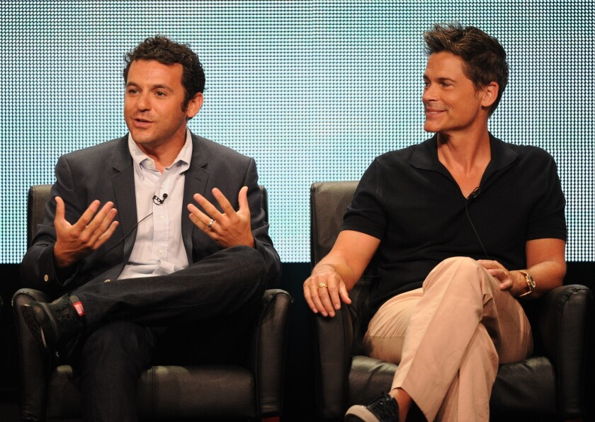 """Fred Savage, left, and Rob Lowe during """"The Grinder"""" panel."""