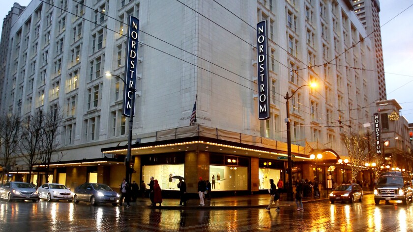 Nordstrom's flagship store is seen in downtown Seattle.