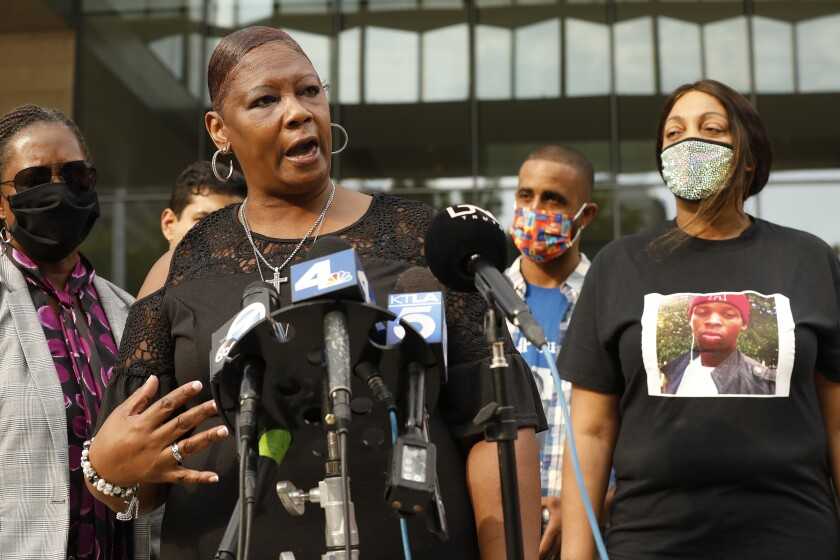 Relatives of drug overdose victims outside a federal courthouse in Los Angeles.