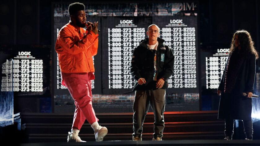 NEW YORK, NEW YORK--JAN. 26, 2018--Khalid, Logic, and Alessia Cara rehearse for the 60th Annual Gram