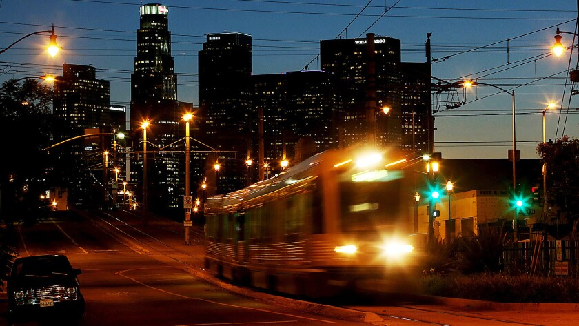 A Metro Gold Line train photographed east of downtown in 2014.
