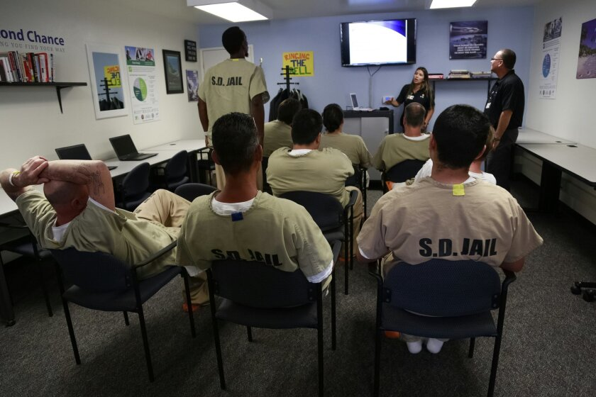 Inmates at the East Mesa Reentry Facility Job Center take a orientation class with instructors from Second Chance. The program helps inmates prepare for job interviews before their release from jail.