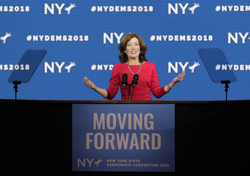 New York Lt. Gov. Kathy Hochul speaks to accept the nomination as Democratic nominee for Lt. Governor during the New York state Democratic convention, Wednesday, May 23, 2018, in Hempstead, N.Y.