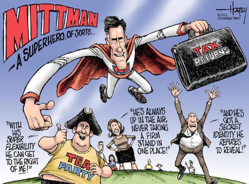 Mitt Romney keeps tax returns secret, bends to please