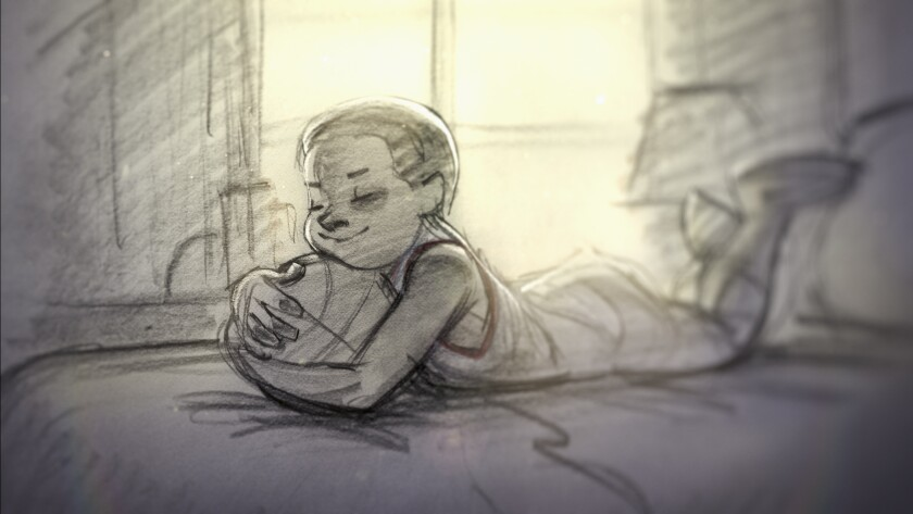 "Glen Keane artwork of a young Kobe Bryant in the Oscar-winning short film ""Dear Basketball."""