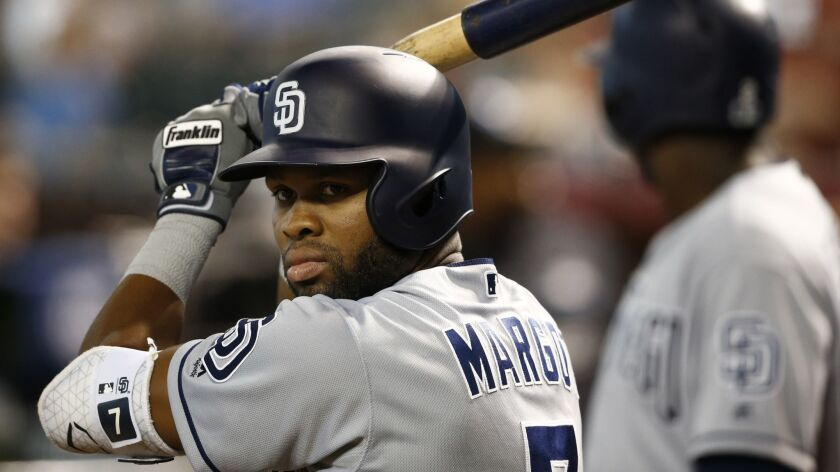 San Diego Padres' Manuel Margot waits to bat against the Arizona Diamondbacks prior to a baseball ga