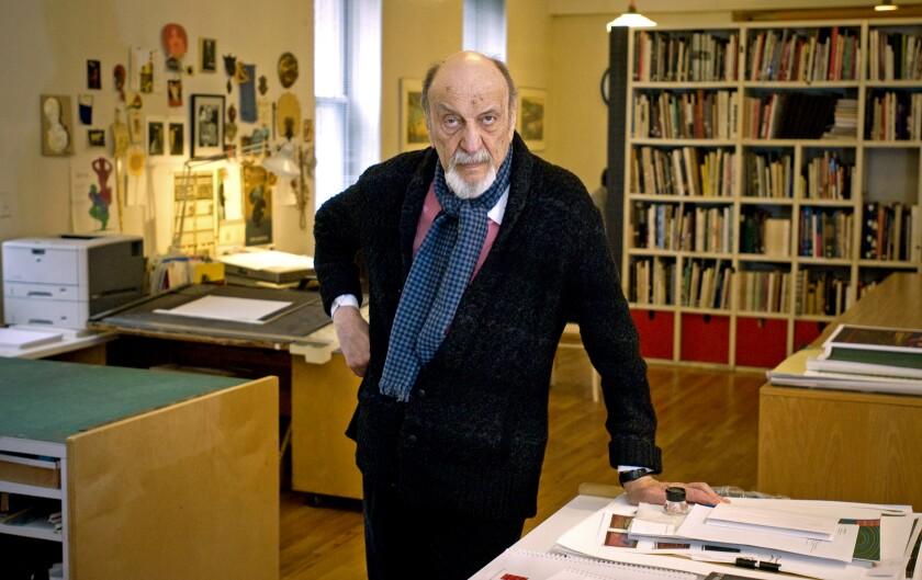 Graphic designer Milton Glaser in his studio in New York City in 2014.