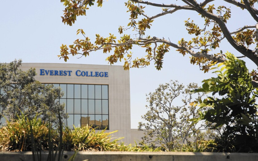 Everest College in Santa Ana, part of the Corinthian Colleges chain, is shown in June. Corinthian has been selling off and closing down schools.