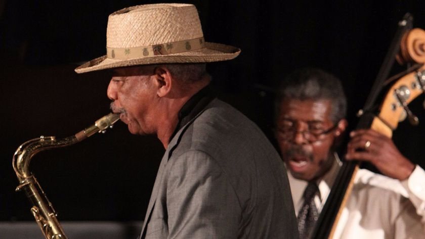 Sax great Charles Owens (left) is shown above with bassist Marshall Hawkins.