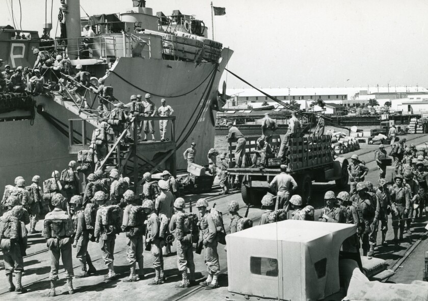 Marines from the First Marine Division at Camp Pendleton loading up on July 11, 1950, prior to departing for the Korean War.