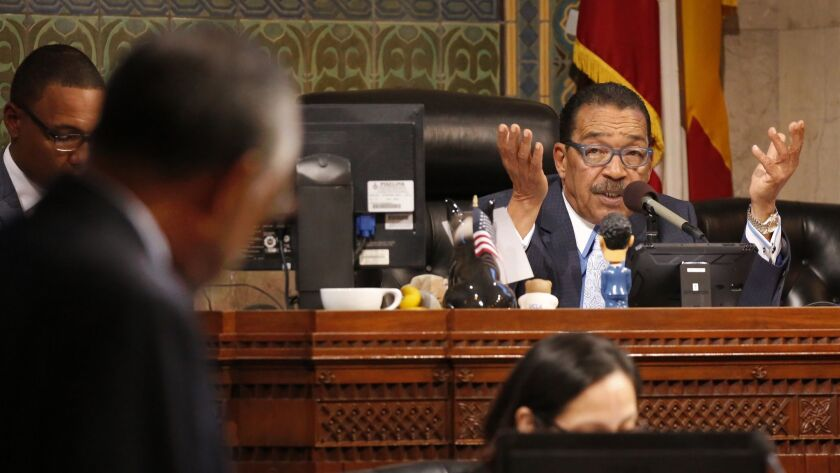 LOS ANGELES, CA – APRIL 17, 2018: Los Angeles City Council President Herb Wesson, right, talks wi