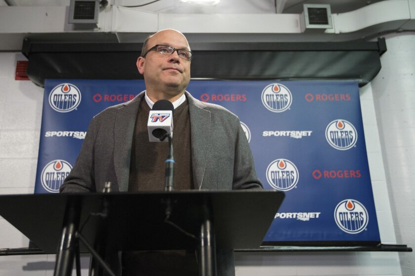 "Edmonton Oilers general manager Peter Chiarelli gives updates on injured Oilers hockey player Connor McDavid in Edmonton, Alberta, Wednesday Nov. 4, 2015. McDavid is expected to be out ""months"" with a broken left clavicle, says Chiarelli. Chiarelli says McDavid will require surgery after breaking h"