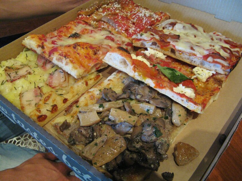 A selection of pizza slices from Napizza in 4S Ranch.