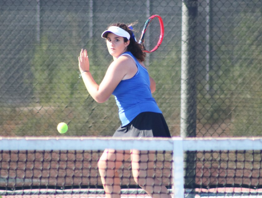 Christianne Bernhardt has returned to the tennis court after knee surgery in June to remove a tumor.