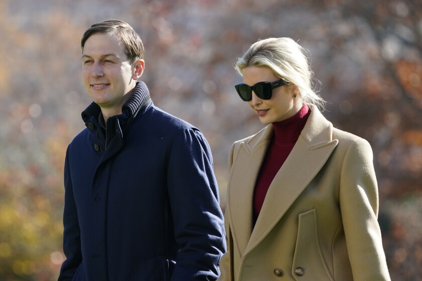 President Donald Trump's White House Senior Adviser Jared Kushner and Ivanka Trump, the daughter of President Trump, walk on the South Lawn of the White House in Washington, Sunday, Nov. 29, 2020, after stepping off Marine One upon returning from Camp David. (AP Photo/Patrick Semansky)