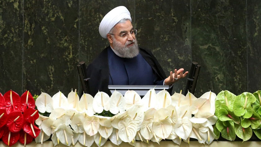 President Hassan Rouhani speaks at the inauguration of Iran's new parliament in May.