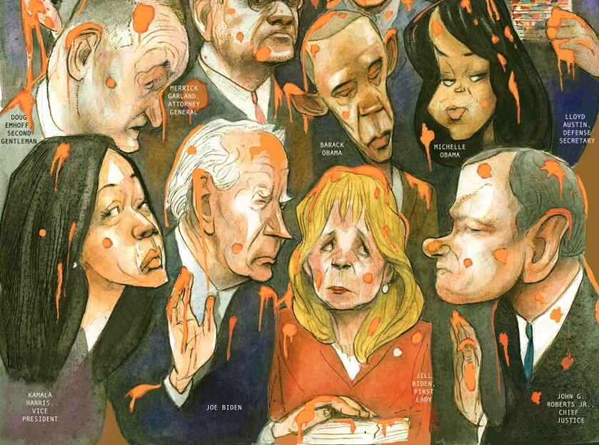 Graphic op-ed illustration depicting Joe Biden, Kamala Harris and Cabinet members drenched in slime on Inauguration Day.