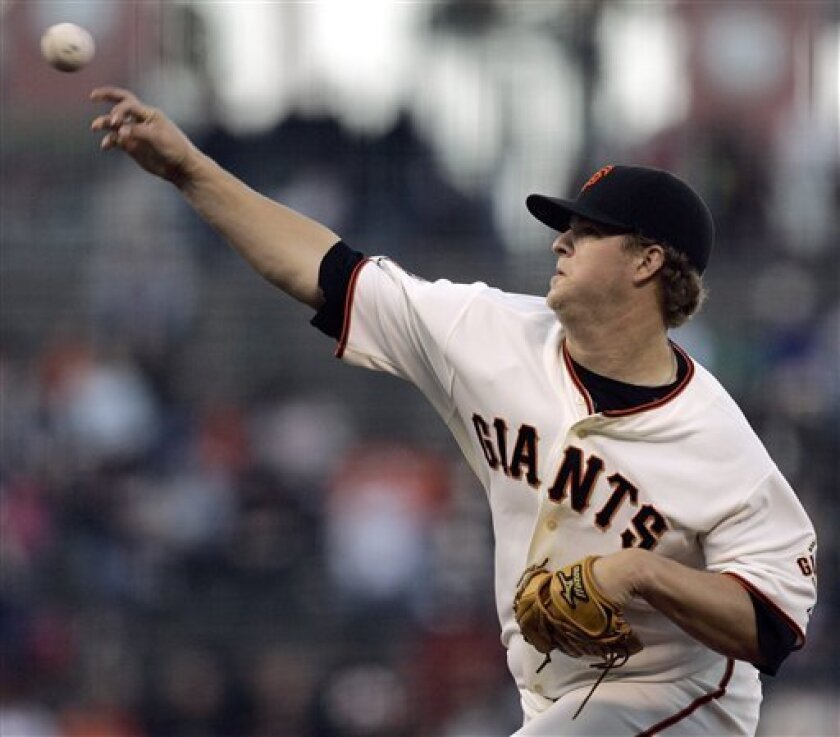 San Francisco Giants' Matt Cain works against the Houston Astros during the first inning of a baseball game Tuesday, May 13, 2008, in San Francisco. (AP Photo/Ben Margot)