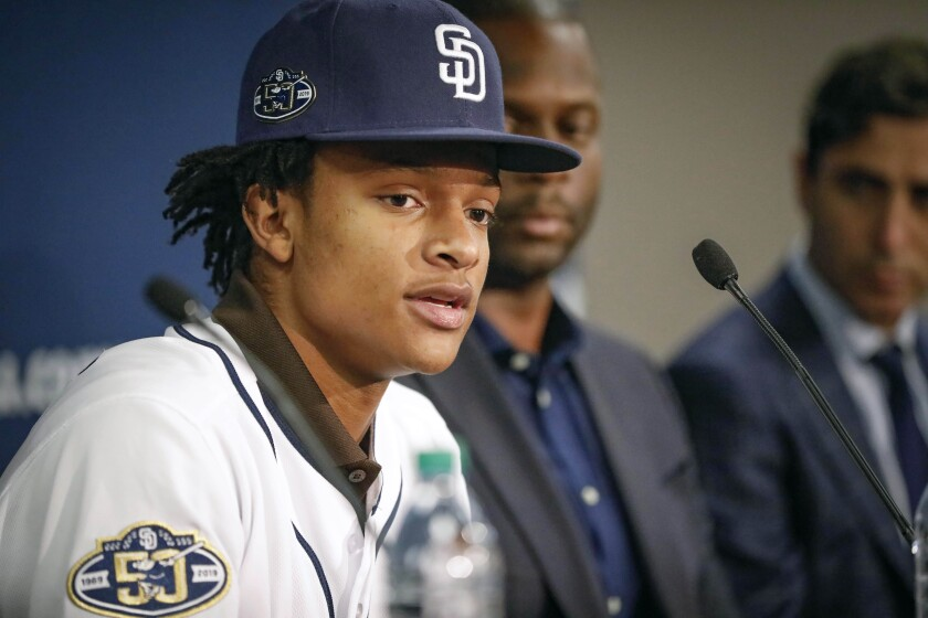 C.J. Abrams, the San Diego Padres first-round selection, and sixth overall pick in the 2019 First-Year Player Draft, answers questions during a press conference at Petco Park where we was introduced, June 8, 2019, in San Diego, California.