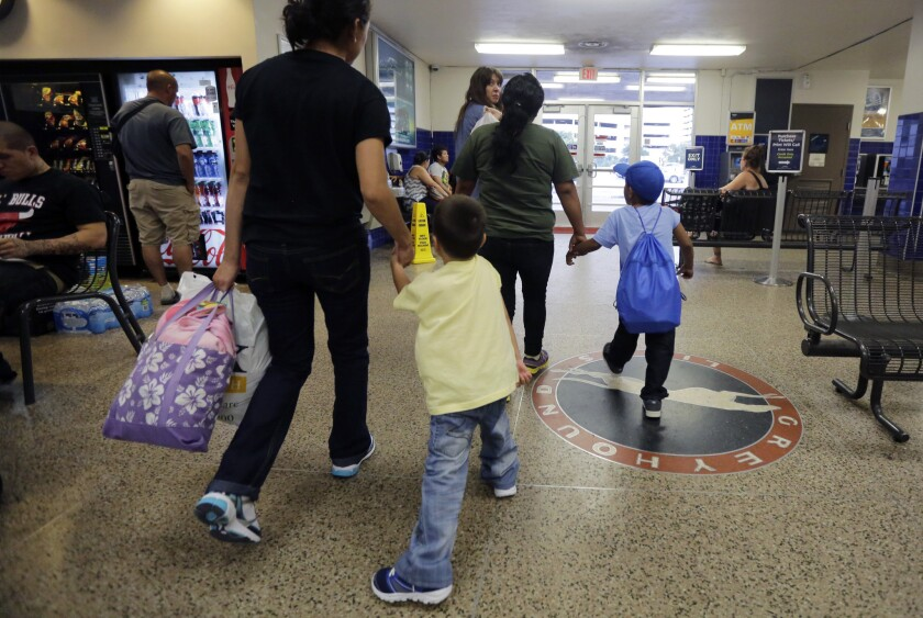 Immigrants from El Salvador at a San Antonio bus terminal after their release from a family detention center.