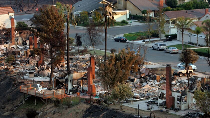 Burned homes line Aguamiel Road in Rancho Bernardo after the Witch Creek fire swept through the area in October 2007.