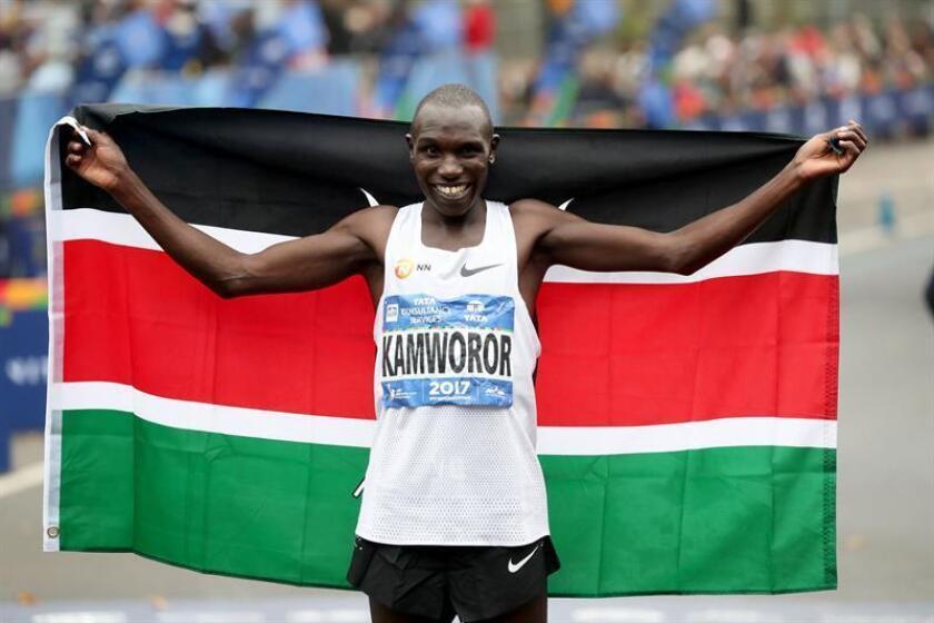 Geoffrey Kamworor of Kenya celebrates winning the Professional Men's Divisions of the New York City Marathon in New York, New York, USA, 05 November 2017. EFE