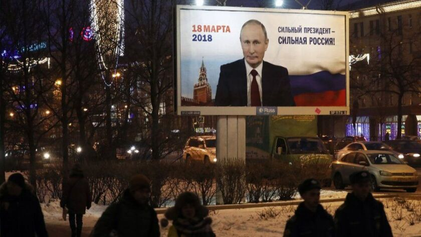 A pre-election poster in support of a self-nominated candidate for Russian presidency Vladimir Putin, St. Petersburg, Russian Federation - 12 Jan 2018