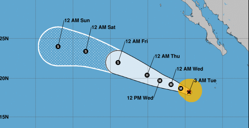 Hurricane Juliette was located 1,000 miles south of San Diego on Tuesday morning
