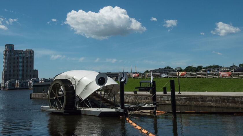 View of the Inner Harbor Water Wheel, also known as Mr. Trash Wheel, in Baltimore, Maryland, on June