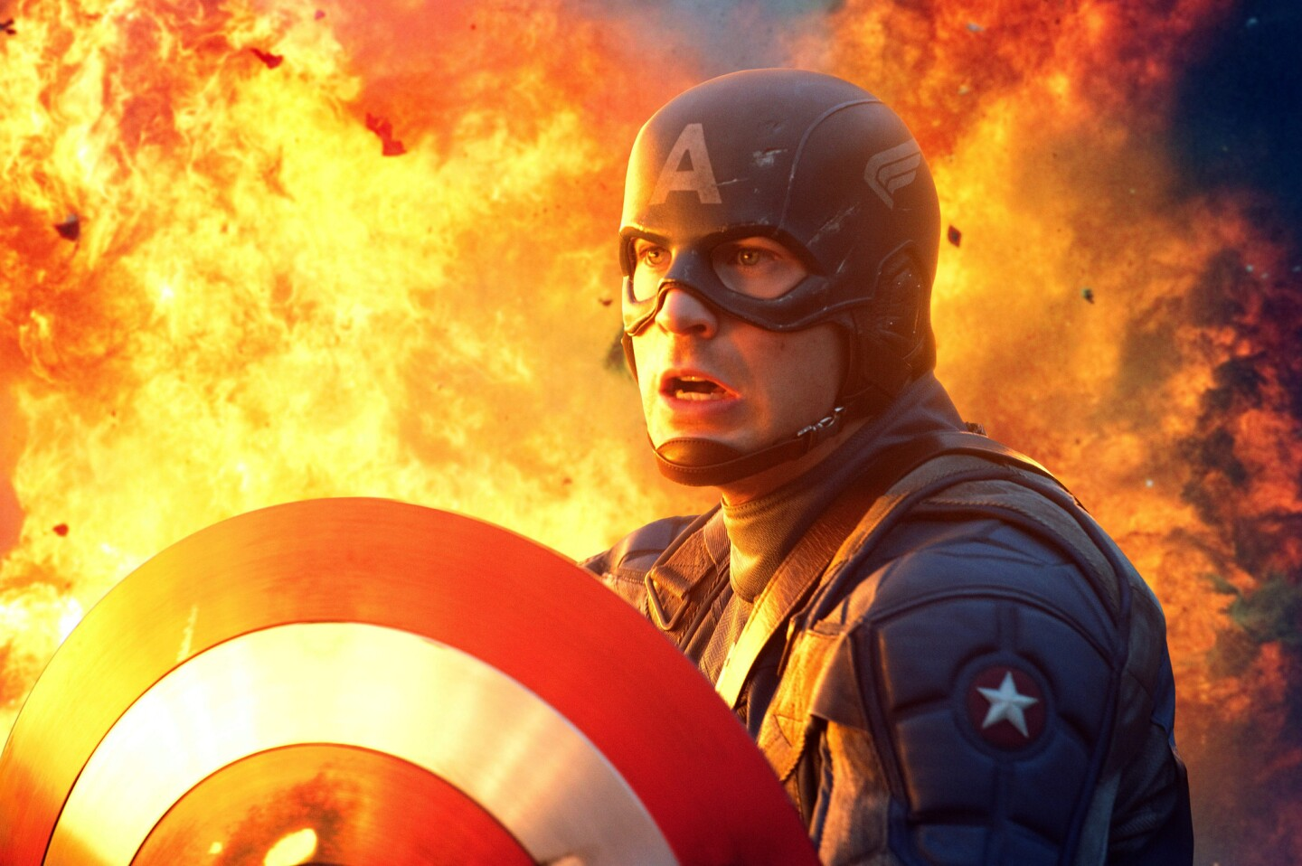 Patriotic plot: After scrawny everyman Steve Rogers (Chris Evans) is deemed unfit for military service during World War II, he signs up for a top-secret project that physically transforms him into a Nazi-fighting superhero.