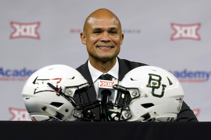 FILE - In this July 15, 2021, file photo, Baylor head coach Dave Aranda smiles as he listens to a question during an NCAA college football news conference at the Big 12 media days in Arlington, Texas. Aranda is going into his second season as Baylor's head coach, and his first non-conference game. The Bears open their season Saturday night at Texas State. (AP Photo/LM Otero, File)