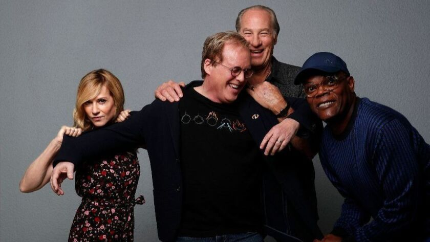 "Holly Hunter, Brad Bird, Craig T. Nelson and Samuel L. Jackson of Disney/Pixar's ""Incredible 2,"" are photographed at the London Hotel in West Hollywood on June 7, 2018."