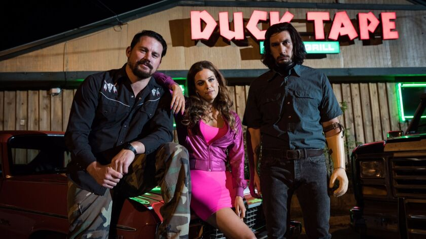 Channing Tatum, left, stars as Jimmy Logan, Riley Keough as Mellie Logan and Adam Driver as Clyde Lo