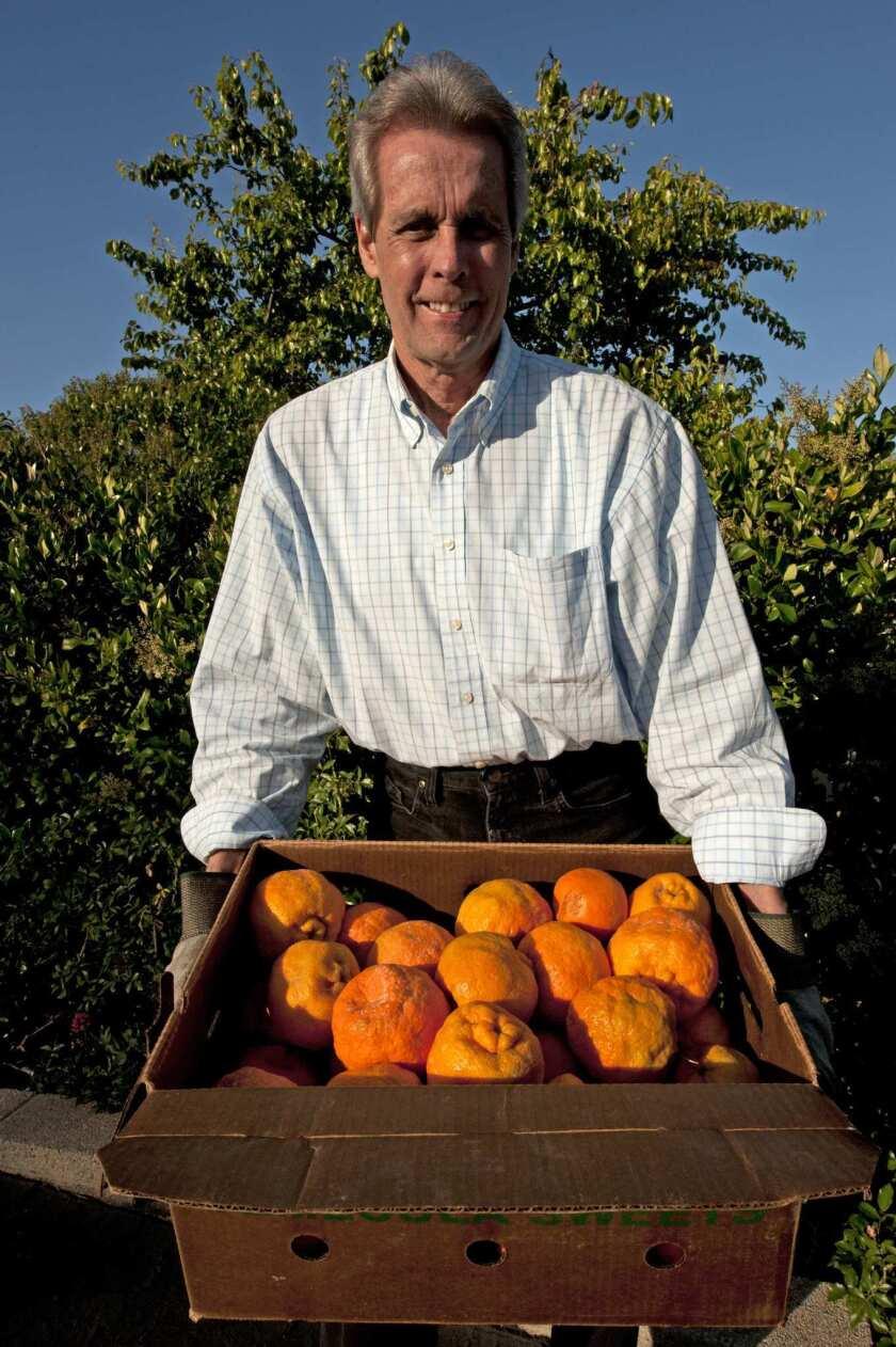Norm Jones with a box of Temecula Sweet mandarins that he grew near Temecula.